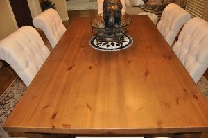 Solid Wood Dining Table, Six Chairs, and Wood Server Buffet Dining Set, used for sale  Broken Arrow, OK