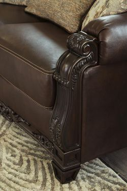 Embrook Chocolate Leather Living Room Set Thumbnail