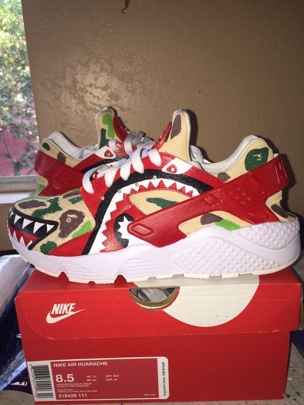 Just Fire Bape Style Custom Nike Air Huarache Sneakers Sneaker Art Shoe Customizer Shoes MBM Kicks Customs For Sale In Paramount