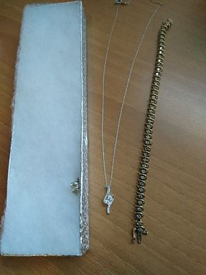 .95 diamond studs,the forever us diamond pendant necklace and a tennis bracelet for Sale in Seattle, WA