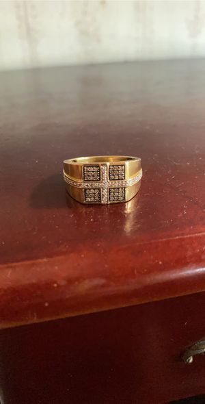 Photo Chocolate and white diamond pave ring