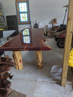 Homemade cedar dining table Thumbnail