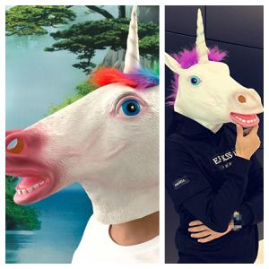Photo 2 Unicorn Masks Latex White Purple Rainbow Adult Costume