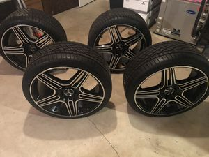 "20"" Mercedes AMG black rims wrapped in continental extreme contact sports for Sale in Manassas, VA"