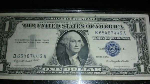 1957 Series (A) Blue Seal Silver Certificate one dollar bill with ...