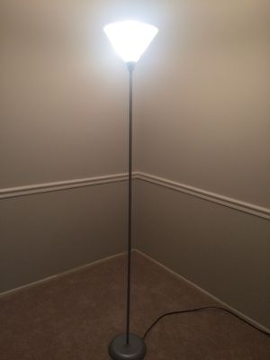 Floor lamp. Silver color base and post. Good condition. Just under 6 feet. for Sale in Fairfax, VA
