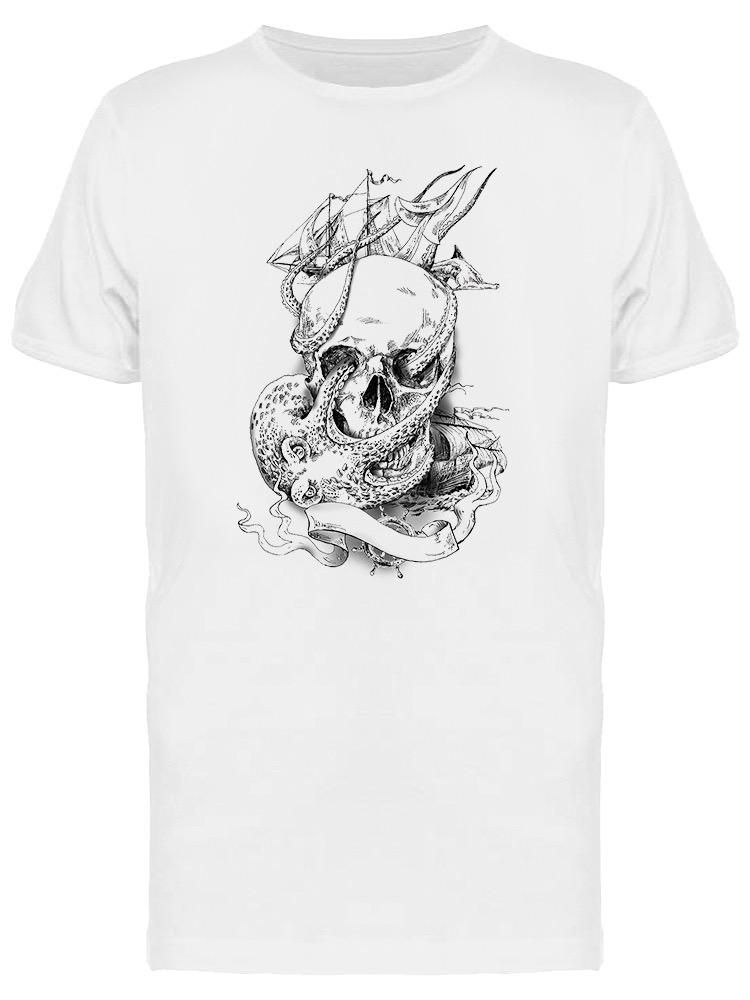 Smartprints Skull With Sea Monsters Tee Men's -Image by Shutterstock White Size 4XL