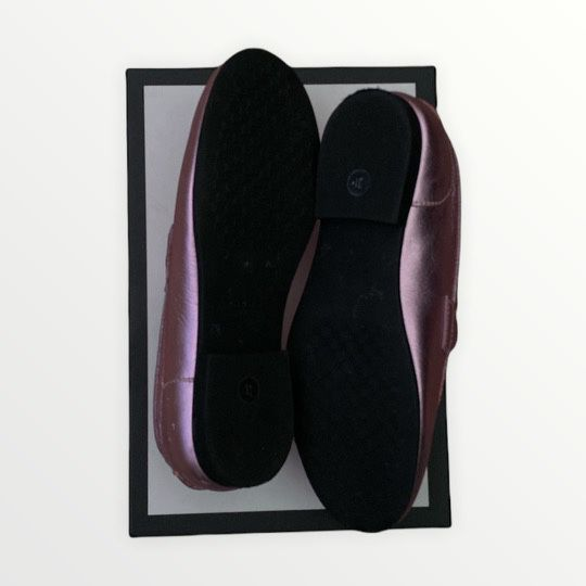 EUC Pink Gucci Metallic Horse Bit Loafer Size 31