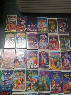 Photo Disney VHS movies. Collection of 53 movies. Sold in bulk. @ $1.50 ...80.00 for the whole collection. Originals and sequels to some.