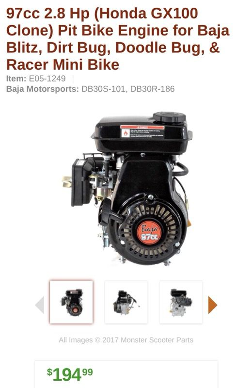Mini Bike Engine 97cc 2 8 Hp (Honda GX100 Clone) for Sale in Waukegan, IL -  OfferUp