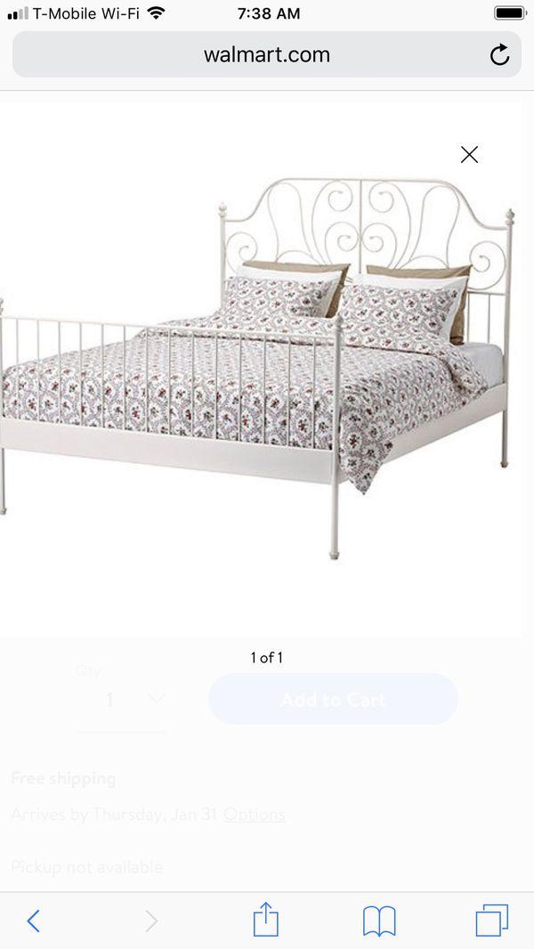 White Ikea Leirvik Bed Frame Pre Used