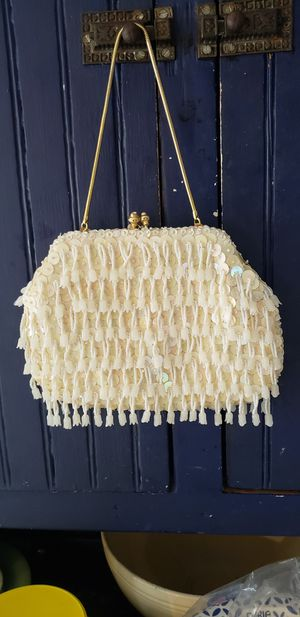 Vintage handmade white sequin clutch purse for Sale in Orlando, FL