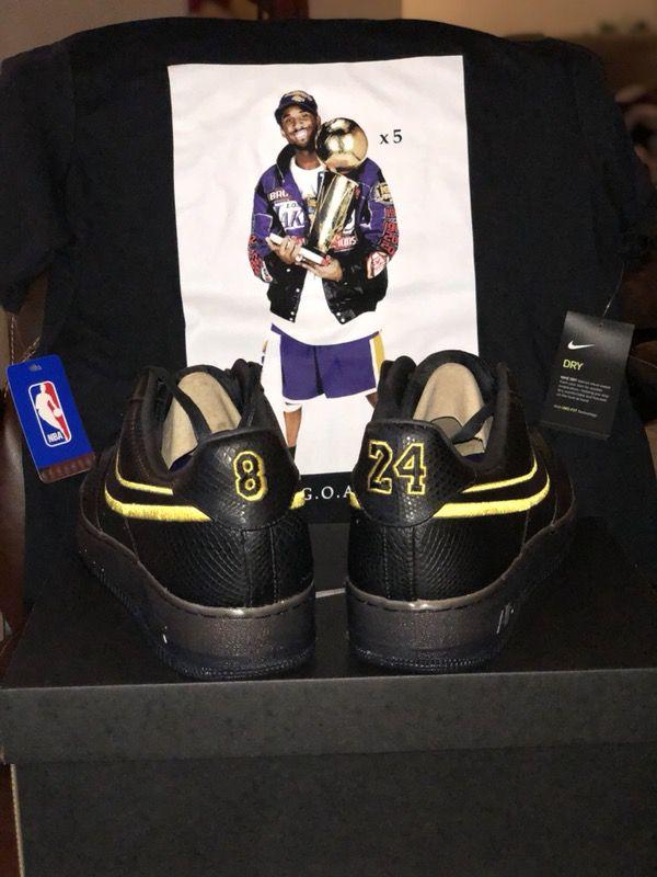 f6970e72 NIKE Air Force 1 Kobe Bryant Black Mamba retirement shoe size 13 and Nike  goat t-shirt L