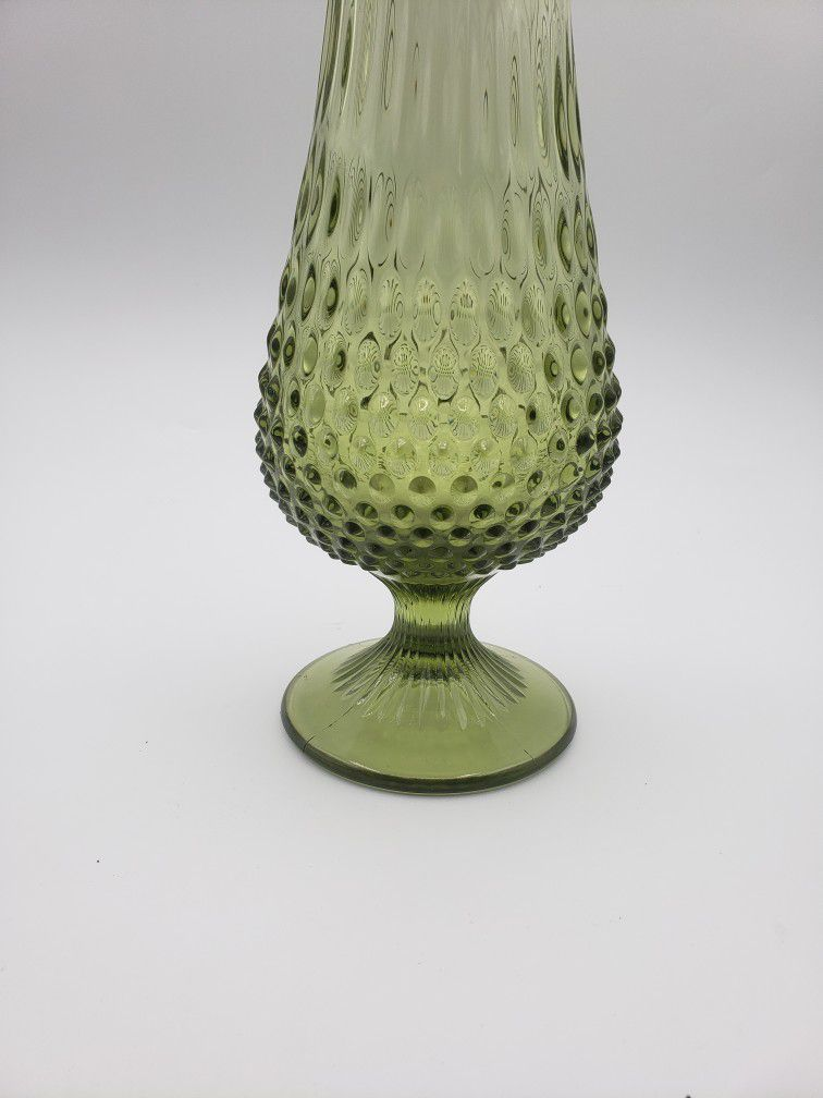 Fenton Large Colonial Green Hobnail Swung Vase