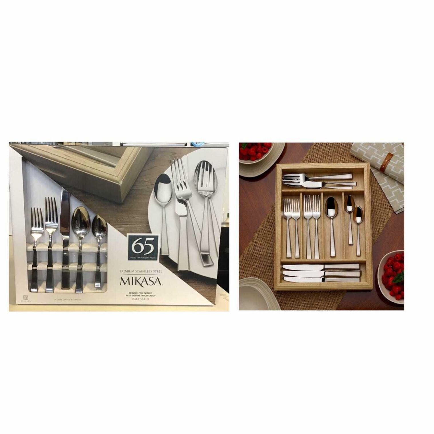 Mikasa  exess satin 65 Piece stainless steel silverware set with wood caddy