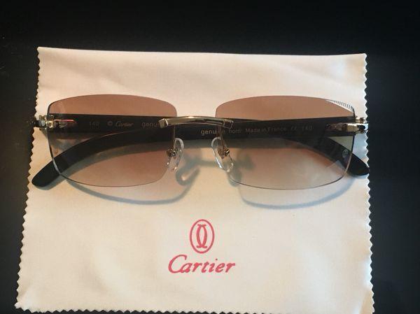 46c68b61ef2 Genuine Buffalo Horn Custom Cartier Sunglasses. Black Buffs. for ...