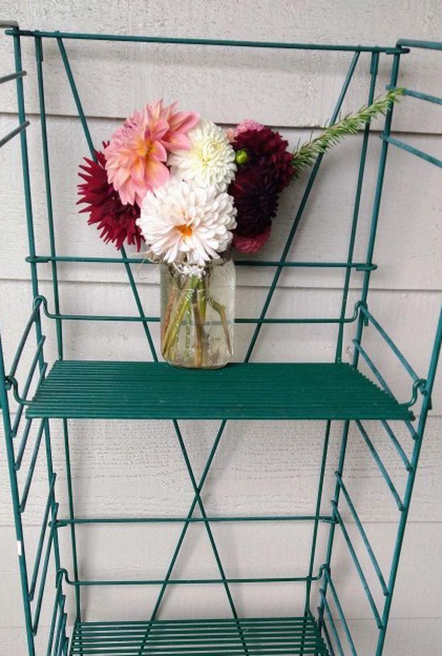 Vintage Folding Metal Shelf