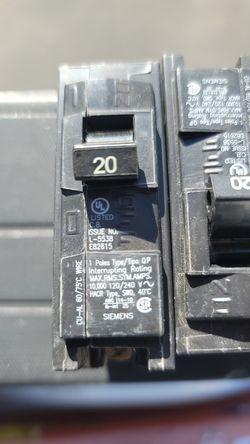 6- 20 amp breakers for seimens qp panel Thumbnail