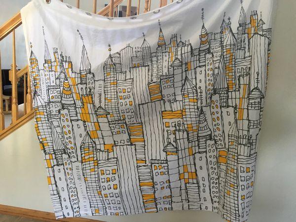 CB2 Cityscape Shower Curtain