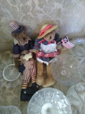 "Red white and blue dressed bears one holding flag. Female bear hand made. Miss Elle""s Collection. 18"" . for Sale in Tempe, AZ"