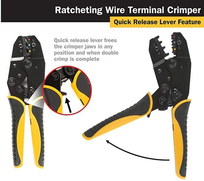 Professional-Grade Ratcheting Wire Crimper for Insulated Terminals