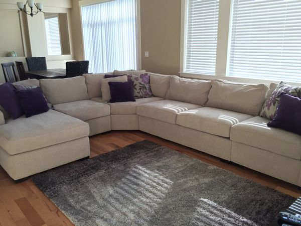 Radley 5 Piece Fabric Chaise Sectional Sofa In Chrome