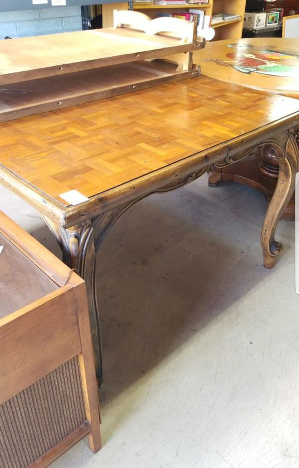 Vintage 48 Square Dining Table With 2 Leaves To Make Bigger For