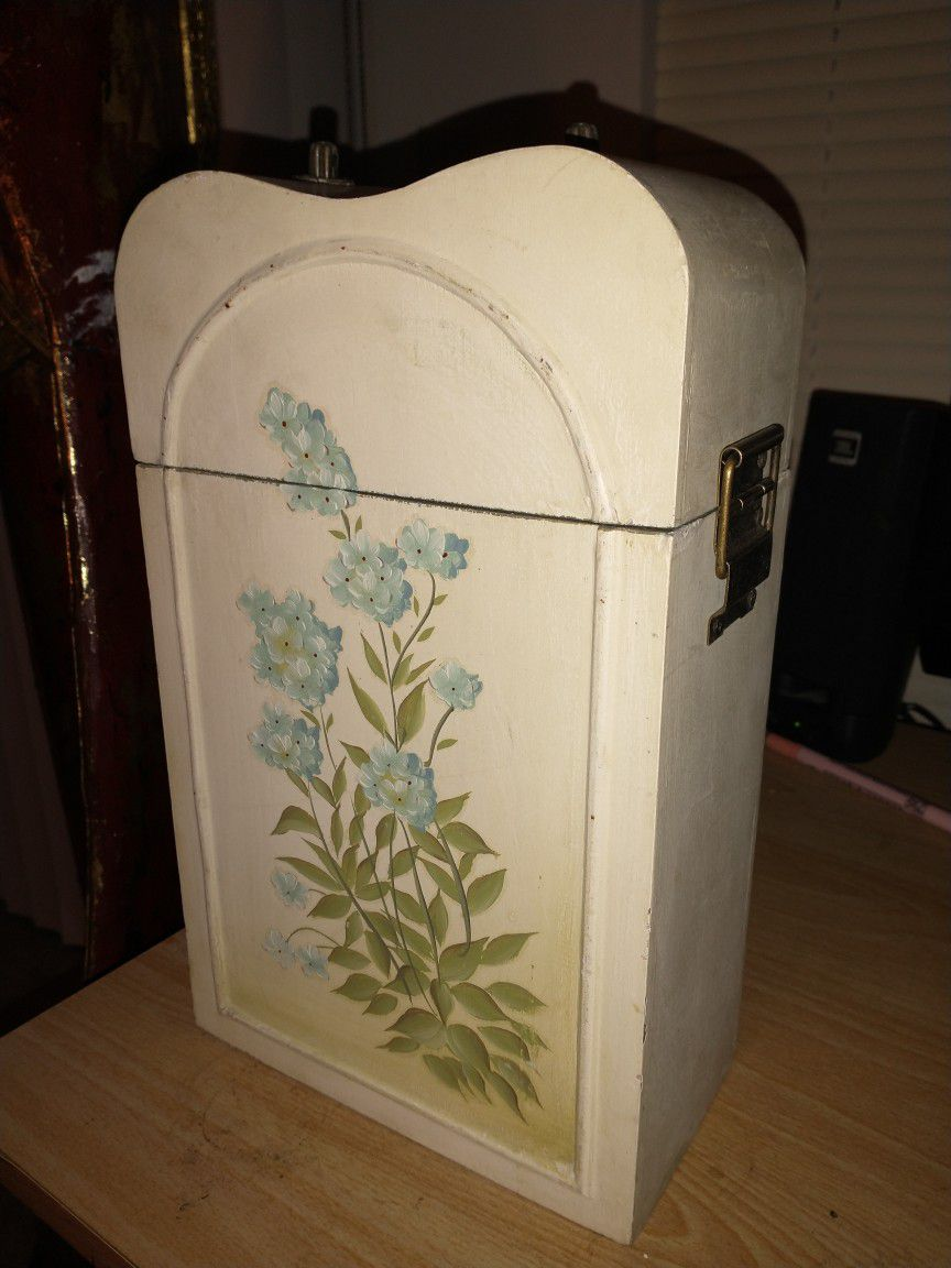 Vintage Hand Painted Wooden Wine Box