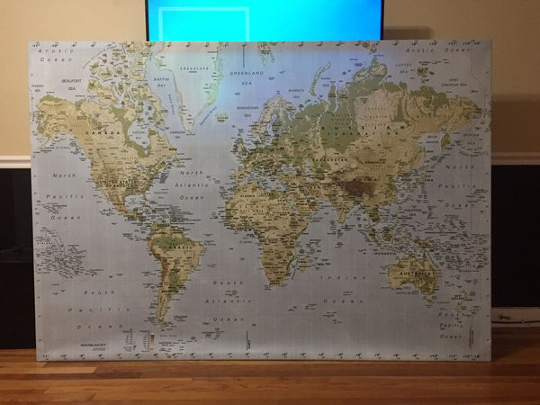 Ikea Premiar World Map Canvas W Frame For Sale In San Antonio Tx