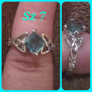 Light blue topaz set in a Sterling silver band. Sz 7 for Sale in Glen Burnie, MD
