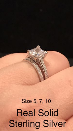 Luxurious 2 CT Princess Cut Cubic Zirconia Diamond Infinity Setting engagement ring SET wedding band promise SOLID STERLING SILVER size 5, 7, 10 👇 for Sale in Glendale, AZ