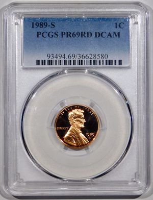 Photo 1989-S Lincoln Cent PCGS PR-69 RED DCAM