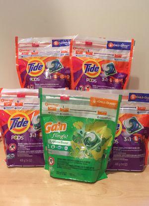 64 Tide pods + 16 Gain flings detergent for Sale in Alexandria, VA