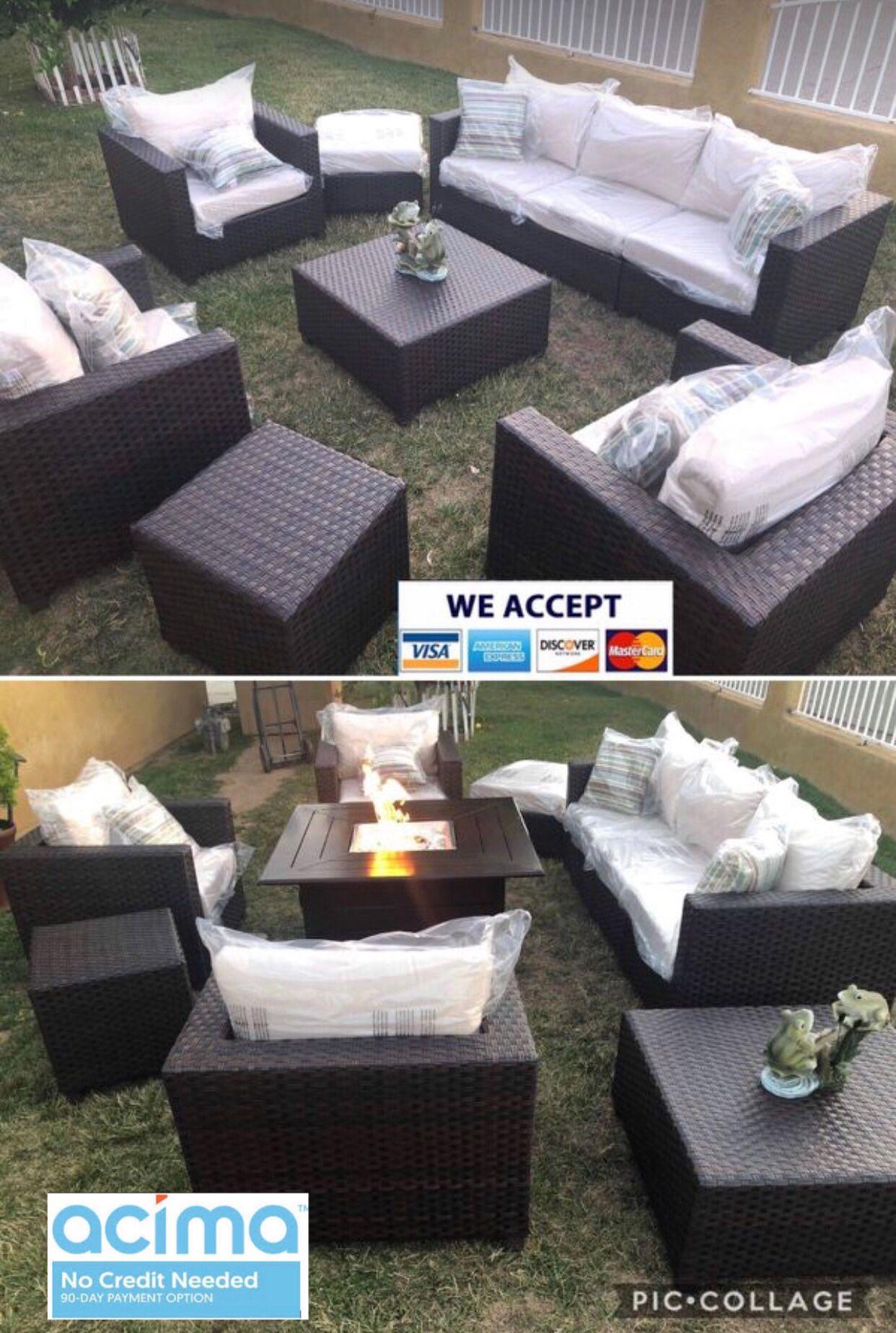 Patio furniture set sunbrella fabric with fire pit