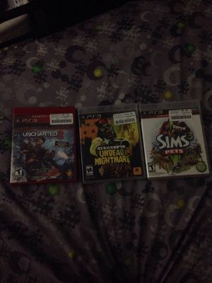 Uncharted 2 Game of year edition And Sims 3 Pets And Red Dead Redemption undead nightmare for Sale in Sudley Springs, VA