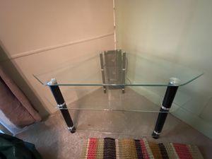 Photo Glass 3 shelf corner TV stand