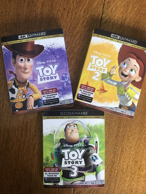 4k Toy story 4k Blu-ray 1,2 and 3 Blu-ray, all for $40, Disney marvel Harry  Potter the Star Wars movies Bluray and dvd collectibles for Sale in
