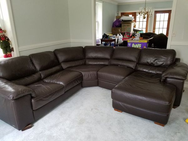 4 Piece Leather Sectional And Recliner Raymour Flanigan Cindy