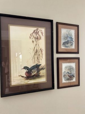 LEE ADAMS Signed w/Seal Limited Ed No 305 Framed Wood Duck and Two Small Framed for Sale in Bradenton, FL