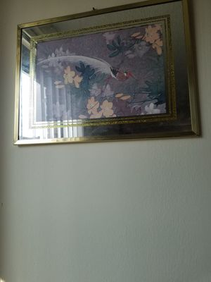 Three piece glass pictures with matching mirror for Sale in Silver Spring, MD