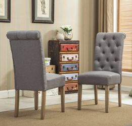 BRAND NEW  Roundhill Furniture Habit Solid Wood Tufted Parsons Dining Chair, Gray, Set of 2 Roundhill FurnitureModel: C161GY Thumbnail