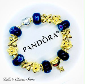 Photo Pandora Heart Clasp Bracelet Black and Gold Beads Charms Size 7.5