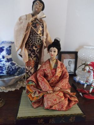 Chinese dolls composite antique wooden base signed 24 inches for Sale in Big Rock, TN