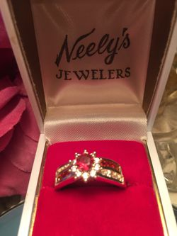 Gorgeous ruby & sapphire engagement ring pave set band size8 Thumbnail