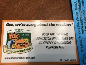 One Siegel's pumpkin farm ticket for Sale in Joliet, IL