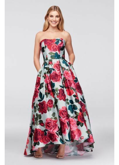 Prom Dress -Bold Floral Satin Ball Gown by BETSY AND ADAM for Sale ...