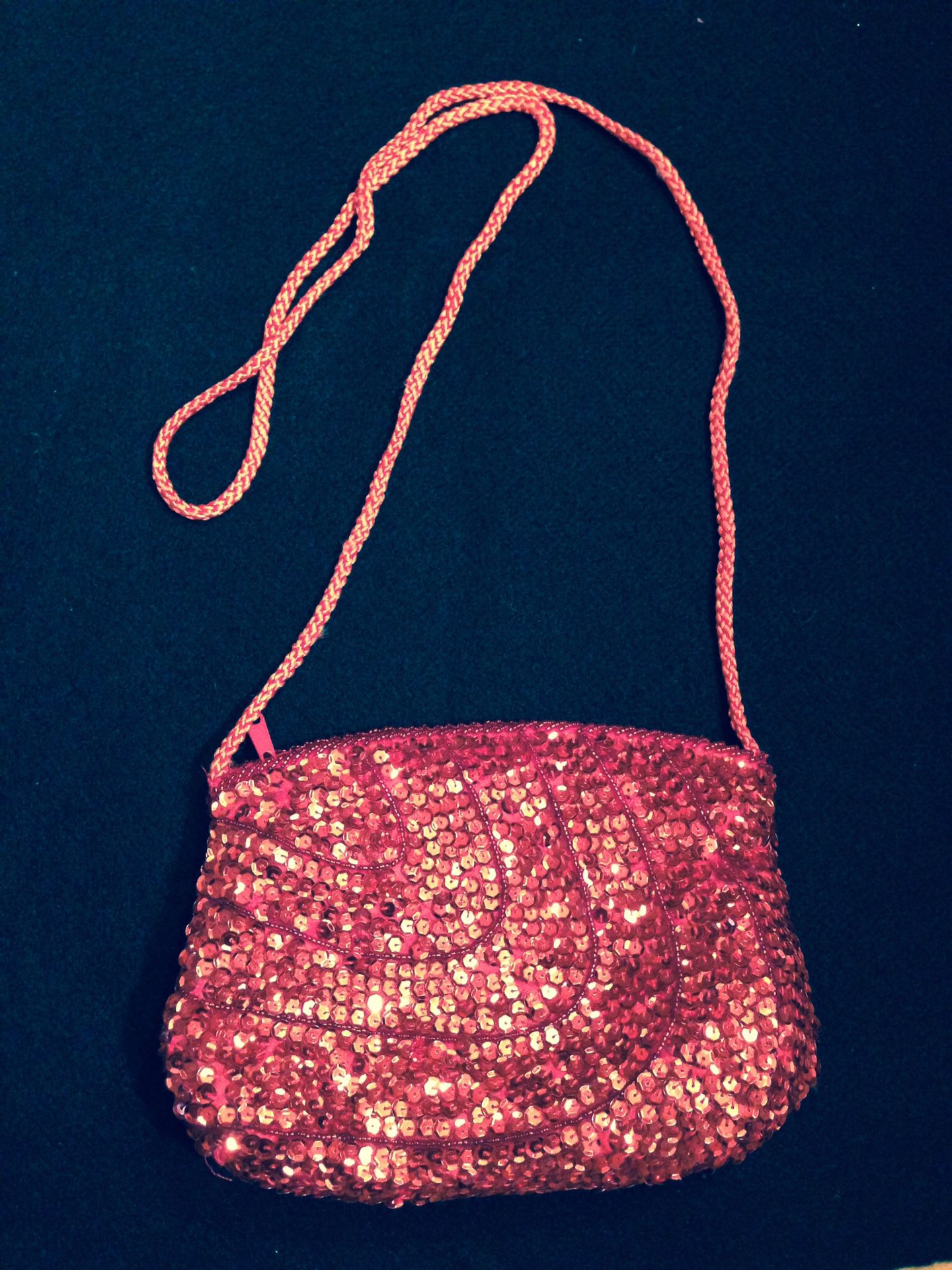 Red sequin purse