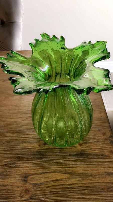 Decorative Green Hqt Handmade Home Designs Art Glass Flower Vase For