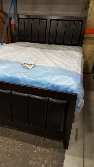 Brand New Queen Size Leather/Wood Bed Frame ONLY for Sale in Silver Spring, MD