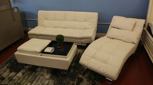 3 pcs Futon Living w chaise and ottoman New!! for Sale in Medley, FL